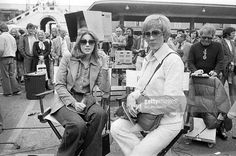 US actress Julie Andrews (R) wife of US director Blake Edwards and Lynne Frederick, wife of Peter Sellers are pictured on the filming of the 'The Revenge of the Pink Panthers', on April 15, 1975 in Nice.