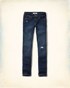 Rich dark color, fading and whiskering through thighs, hand-done destruction, iconic back pocket stitching, Destroyed Dark Wash, Imported<br><br>99% cotton / 1% spandex<br><br>Inseam (inches):<br>Short:30, Regular: 32, Long: 34