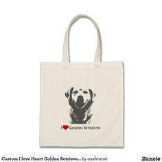 #Custom I love Heart Golden #Retriever #Tote #Bag #beach #fashion #ladies #women #dog #doggie #pet