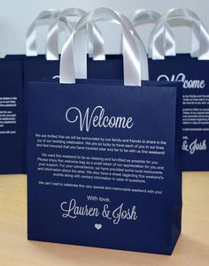 25 Wedding welcome letter bags with satin ribbon handles and your names, Navy Blue & Silver Personalized wedding weekend favors for guests - Carina Destination Wedding Welcome Bag, Welcome To Our Wedding, Beach Wedding Favors, Wedding Favor Boxes, Wedding Favors For Guests, Personalized Wedding Favors, Gifts For Wedding Party, Personalized Ribbon, Wedding Souvenir