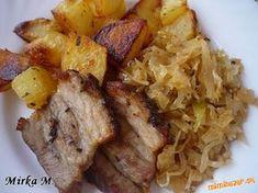 pečený bôčik s kyslou kapustou Grains, Pork, Rice, Meat, Chicken, Baking, Kale Stir Fry, Bakken, Seeds