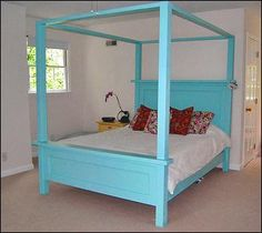 I want to make this!  DIY Furniture Plan from Ana-White.com  It's simple to add a fancy canopy to our Farmhouse Bed plans. The solid wood beams are perfect for adding a touch of romance to a bedroom space. Special thanks to our readers for sharing their photos.