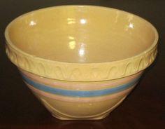 Bowl Mixing 1930's Brush McCoy Square Bottom Pie Crust Rim Pink Blue Band 9 1 2 | eBay