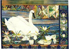 Swan with Waterlilies