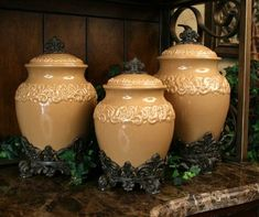 Butterscotch Large Ceramic Canister Set | shopswell
