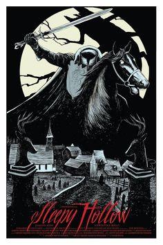 """""""Sleepy Hollow"""" by Isaac Bidwell Halloween Poster, Halloween Movies, Halloween Horror, Scary Movies, Halloween Art, Vintage Halloween, Happy Halloween, Horror Movie Posters, Movie Poster Art"""