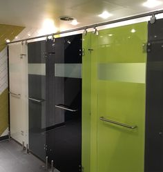 Luminoso glass shower cubicles at a London gym Locker Room Shower, Shower Cubicles, Public Shower, Cubicle Design, Toilet Cubicle, Gym Showers, Gym Lockers, Home Gym Design, Hospital Design