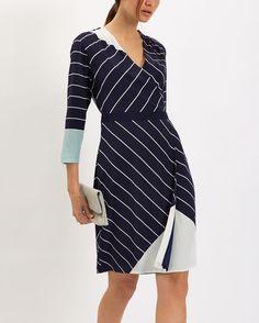 Silk Graphic Stripe Dress - Navy / Ivory - Jaeger