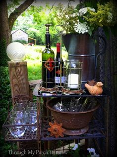 Through My Porch Window - A blog about decorating, homesteading & everyday life.: Temporary Deck Bar