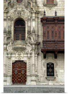 Peru, Lima, Plaza de Armas, Moorish style wooden balcony of the Archbishop's Palace Latin America, South America, Picture Wall, Photo Wall, Wall Collage, Wall Art, Colonial Architecture, Architect House, Good House