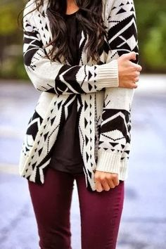 Black and White Aztec Cardigan With Burgundy Jeans