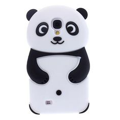 Black 3D Bear Panda Rubber Back Jelly Skin Cover Case for Samsung Galaxy SIV S4 i9500 - Cartoon Samsung S4 i9500 Cases - Galaxy S4 Cases