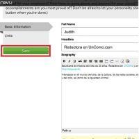 Paso 4 de 9 - Rellena el formulario en blanco con tus datos personales (nombre, biografía, fotografía...) y haz click en 'Save'.