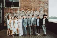 white and gray wedding party - photos by Shannon Roddy and Elena Mudd for Amber Gress Photography http://ruffledblog.com/stylish-greenpoint-loft-wedding