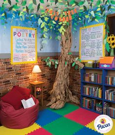 Poet-Tree Corner Classroom Decor. Great space for students to read, relax and learn!   Features: Fadeless® Reclaimed Brick, Fadeless® Wispy Clouds, Pacon® Natural Kraft Wrapping Paper, Tru-Ray® Construction Paper, Bordette® Borders, Pacon® Anchor Charts and Classroom Keepers®.