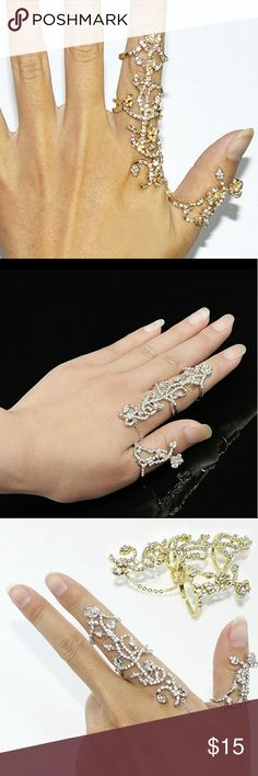 🔴COMING SOON🔴Two-finger ring Two-finger ring, adjustable to size, gold tone or silver tone. Jewelry Rings