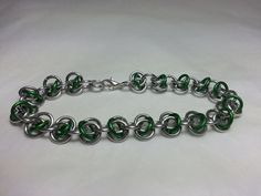 Green and Silver RSD Chainmaille Bracelet by WyndstarCreations, $5.00