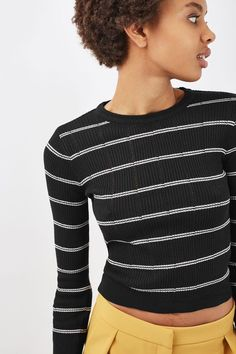 Opt for stripes to upscale your casual-wear this season in this crop pointelle knit. An easy-to-wear piece, pair with casual jeans and trainers for a comfortable yet on trend look. #Topshop