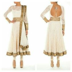 Modern white lace anarkali by @crossoverbollywoodse