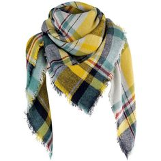 Gray & Yellow Classic Plaid Print Square Scarf Wrap ($25) ❤ liked on Polyvore featuring accessories, scarves, grey, lightweight, fringe shawl, tartan blanket scarf, oversized blanket scarf, lightweight scarves and grey scarves