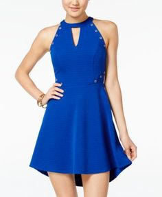 Material Girl Grommet High-Low Fit & Flare Dress, Only at Macy's