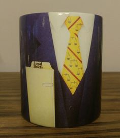 $24.95 OBO! Legal Briefs Coffee Mug Cup Suit Tie Scales of Justice The Creative Source 1992