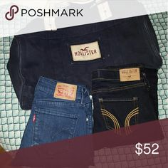 Hollister bundle Selling as lot only! Not seperating. 1 nwt hollister skinny jeans size 0. Has a mark on the price tag to prevent store returns. Like new levis size 25. Fits more of a size 0. Hollister duffle bag good condition. Hollister Jeans Skinny