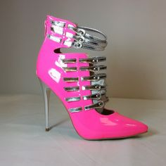 Pink pointy toe heels with silver metallic straps #cutesyoriginals