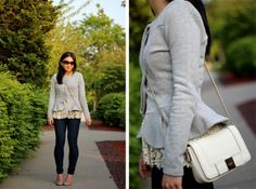 I like the double peplum, although no way can I rock skinny jeans the way Elle can.