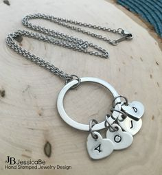 Mommy Necklace Mommy Initials Heart Initial Necklace by JessicaBe