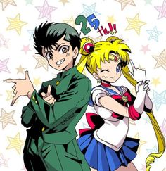 "Yoshihiro Togashi creator of yuyu hakusho and hunter x hunter is married to Naoko Takeuchi the creator of sailor moon"" Sailor Moons, Sailor Moon Usagi, Sailor Moon Art, Manga Anime, Boys Anime, Otaku Anime, Anime Art, Anime Crossover, Best Crossover"