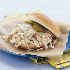 Pulled Chicken Sandwiches with White Barbecue Sauce Recipe | MyRecipes.com
