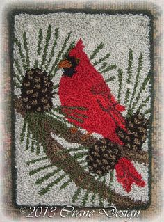 Cardinal in the Pines  Punchneedle Pattern. Designed & stitched by Jan Mott of Crane Design. Check out my blog spot to see shops that offer this pattern.