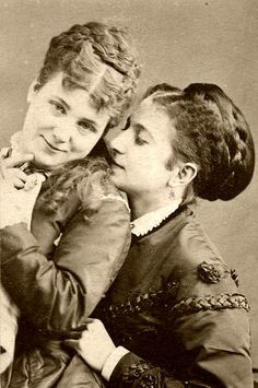 secretlesbians:  19th Century Queer Couples 1.1891 – Photo by Alice Austen 2.1855 – Martha O'Curry 3.1890 – via www.ChloeAndOlivia.wordpress.com 4. 1890 – via www.Flickr.com/photos/SShreeves 5.1899 – via FYeahQueerVintage.tumblr.com 6.1900 – Anna Moor and Elsie Dale 7.1900 – Young souple seated in garden, from the Powerhouse Museum Collection, via HerSaturnReturns.com 8.Kitty Ely, Class of 1887 (L) and Helen Emory Class of 1889, Mount Holyoke Students, via…