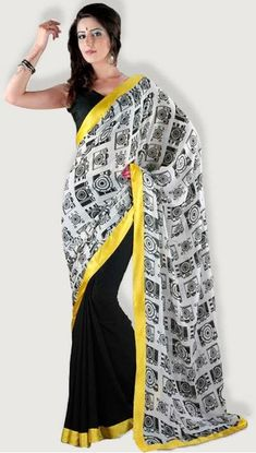 Adaa's black printed art silk saree