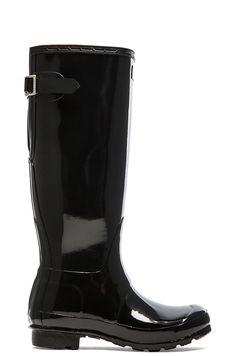 HUNTER ORIGINAL BACK ADJUSTABLE GLOSS RAIN BOOT. #hunter #shoes #boots