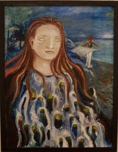 Den som tror på mig, av hans innersta skola strömmar av levande vatten flyta fram, såsom skriften säger.» Utidrån det bibelordet målade jag denna tavla. Tavlan är 47 x 61 cm stor, målad i olja och kostar 3400 kr Painting, Painting Art, Paintings, Painted Canvas, Drawings
