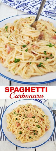 Quick, easy delicious pasta dinner (with Bacon and TWO cheeses!) #Spaghetti #Carbonara #PastaRecipes
