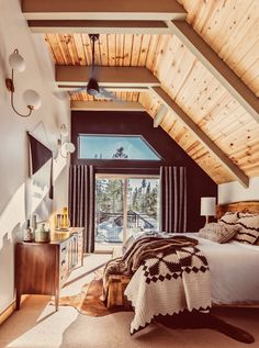 Before and After: An Unloved A-Frame Turned Retro-Inspired Retreat: gallery image 14 Van Norden Lodge is an ode to the glory days of cabin life. The style inspiration is Chalet Design, Cabin Design, Attic House Design, Design Design, Chalet Style, Modern Design, A Frame Cabin, A Frame House, Loft Interior