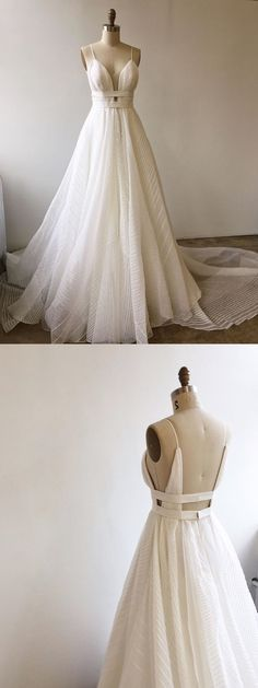 A-line Straps Long Wedding Dress, 2018 Wedding Dress, Ball Gown,White Long Wedding Dress with Train