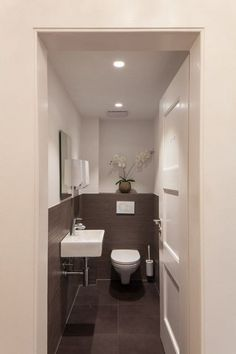Space Saving Toilet Design for Small Bathroom In the event that you are one of the a huge number of individuals around the globe who needs to bear the claustrophobia of a little restroom, help is within reach. Space Saving Toilet, Small Toilet Room, Guest Toilet, Downstairs Toilet, Guest Bath, Bathroom Design Small, Bathroom Layout, Bathroom Interior, Modern Bathroom