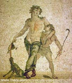 DIONYSOS and SATYROS  Museum Collection: Antakya Museum, Antakya, Turkey   Catalogue Number: Antakya 861   Type: Mosaic  Context: Antioch, House of the Drunken Dionysos  Date: C4th AD  Period: Imperial Roman