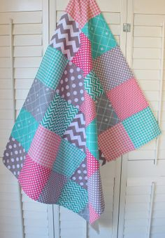 Baby Girl Blanket Fleece Blanket Coral Pink Teal Gray Nursery Decor