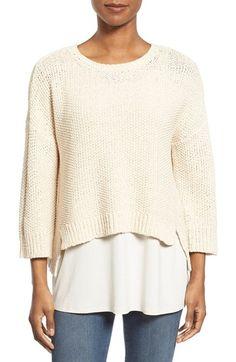 Eileen Fisher Cotton Blend Bateau Neck Boxy Sweater (Regular & Petite)