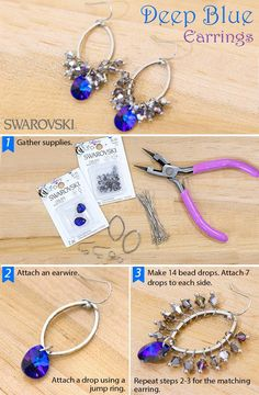 Deep Blue Earrings - Swarovski has made gorgeous handmade jewelry attainable with this DIY project!