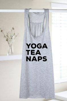 Yoga Tea Naps  Yoga Shirt  Flowy tank  Yoga Top  by ArimaDesigns