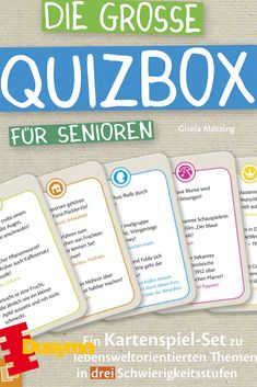 Auf insgesamt 240 Karten stehen spannende Quizfragen❓aus der Lebens- und Wissenswelt🌎 der Senioren, diese sind in drei Schwierigkeitsgraden unterteilt. Die Fragen drehen sich rund um die Themen Musik🎼 und Film🎥, Literatur📖 und Geografie, oder auch um das gesellschaftliche Leben. Somit können die Betreuungskräfte, oder auch Angehörige nicht nur eine unterhaltsame Spielrunde mit den Senioren 👩🦳👴beginnen, sondern auch das Gedächtnis der Senioren fördern und Erinnerungen wecken.😃 Box, Bullet Journal, Movie, Geography, Literature, Memories, Round Round, Knowledge, Snare Drum
