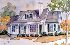 Front Color Rendering.1780 sq feet. Like plan  bedrms separated by living space.
