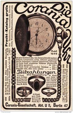 Original-Werbung/ Anzeige 1912 -  UHREN - SCHMUCK -  CORANIA GESELLSCHAFT BERLIN - ca. 80 x 135 mm