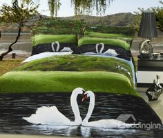 New Arrival High Quality 3D Sweet Swan 4 Piece Bedding Sets/comforter Sets